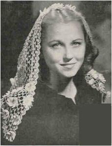 a 1945 design for a crocheted chapel veil or mantilla