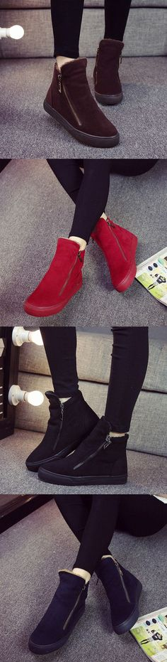 US$22.10  M.GENERAL Winter Warm Cotton Zipper Soft Ankle Boots For Women