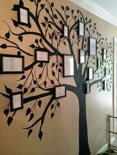 This Wall Decor Gives a Whole New Meaning to Family Tree wall painting Family Tree Tree Wall Painting, Metal Tree Wall Art, Painting Walls, Tree On Wall, Decorative Wall Paintings, Diy Painting, Wall Painting Colors, Painting Frames, Diy Wand
