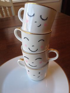 Set of 4 Happy Teacups and Breakfast Plates via Etsy. - I CAN AND WILL MAKE THESE!!! I LOVE THEM!!!!!!!!!!!!!!!!!