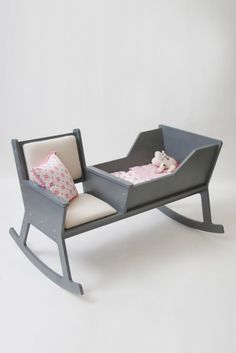 Rockid    A rocking chair and cradle in one.  While carefully swinging the rocking chair and reading a book or singing a lullaby, your baby can softly fall asleep.