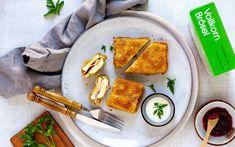 Zucchini Cordon Bleu mit LAND-LEBEN Vollkorn Brösel Zucchini Cordon Bleu, Ham And Cheese, Easy Meals, Cooking, Life, Recipies