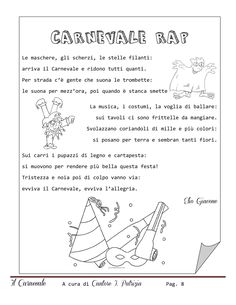 Percorso didattico - Carnevale | PDF to Flipbook Canti, Learning Italian, Teaching Materials, Kids Education, Kids Playing, Carnival, Language, Bullet Journal, Words