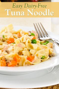 This dairy-free tuna noodle un-casserole is the epitome of easy comfort food! Naturally nut-free and soy-free with vegan and gluten-free options. Dairy Free Tuna Casserole, Pork Casserole Recipes, Chicken Noodle Casserole, Tuna Noodle, Healthy Tuna, Dairy Free Recipes, Vegan Recipes, Entree Recipes, Vegan Foods