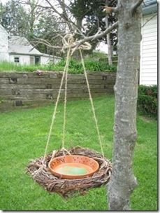 bird bath grape vine wreath