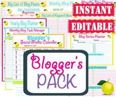 Blog Planner Sheets - Work Printables - INSTANT and EDITABLE - 15 Documents