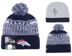 Mens / Womens Denver Broncos New Era NFL 2016 Sports Fashion NFL Branded Mark OTC Knit Pom Beanie Cap - Navy / Silver