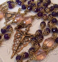 French Rosary ~ Handmade ~ Amethyst Stones ~ Antique Victorian Design ~ Bronze