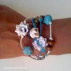 """Rum Cay Island Jewelry """"Pirate Collection"""" Conch shell and skulls bracelet."""
