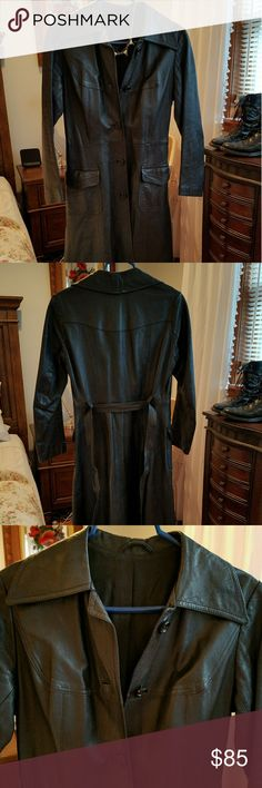 """Leather coat Deep  dark black leather trench coat with a tie belt. Nicely broken in and soft with no flaws. Black satin lining. No size tag.  Measurements taken while laying flat:  ⚰ 15"""" waist ☠ 17"""" bust 🗡 15.5"""" shoulder width ⚰ 5"""" from collar to sleeve  ☠ 31"""" bottom width at hem 🗡 27.5"""" sleeve length  ⚰45"""" long back collar to hem  Rebel goth gothic punk horror emo rock  metal head banger dominatrix bondage fetish kink bdsm Jackets & Coats Trench Coats"""
