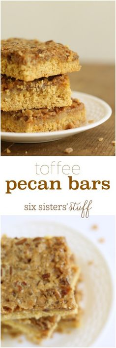 Toffee Pecan Bars recipe @SixSistersStuff | Usually, I'm not a huge fan of pecans – at all! Then my friend brought me these delicious pecan bars and all of the sudden I was hooked! With a cakey bottom, but a gooey toffee and pecan top, they are a great treat that can feed a crowd.