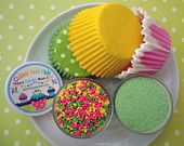 Daisy Chain Cupcake Kit - Sprinkles, Sugar and Cupcake Liners - Lime Green, Pink and Yellow