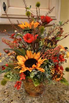 Sunflower And Poppy Arrangement by kristenscreations on Etsy