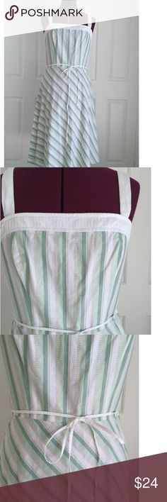 Ann Taylor Loft Striped Cotton Dress Belted Waist  Invisible Side Zip  Size 6  Bust 32, Waist 28 and Length 42  Shell 100% Cotton  Lining 100% Lining  Machine Washable and Line Dry   Please let me know if you have any questions.  Thank you for looking!!!!!!! Ann Taylor Loft Dresses