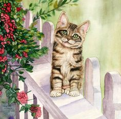 Cute little tabby kitten on my garden fence - Animal Art