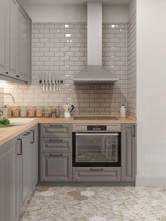 New Kitchen Backsplash Tile House 68 Ideas Kitchen Decor, New Kitchen, Retro Kitchen, Kitchen Remodel Small, Grey Kitchen, Diy Kitchen Cabinets, Kitchen Design, Kitchen Remodel, Kitchen Renovation