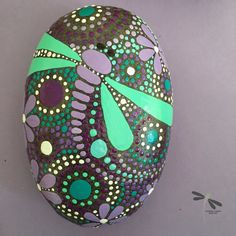 Rock Rock Art Dragonfly Art Mandala Design by etherealearthrockart