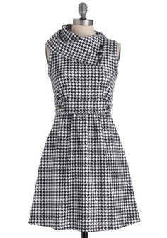 Coach Tour Dress in Houndstooth - White, Houndstooth, Buttons, Work, A-line, Sleeveless, Black, Pockets, Casual, Scholastic/Collegiate, Best Seller, Cowl, Variation, Winter, Basic, Fall, Folk Art, Top Rated, Maternity, Full-Size Run, Mid-length, Gals, Good, 4th of July Sale