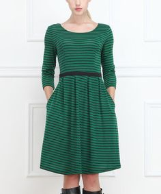 Look what I found on #zulily! Green Stripe Pleated Dress by Reborn Collection #zulilyfinds