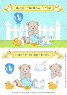 Happy 1st Birthday Bear Topper Decoupage Boy on Craftsuprint - Add To Basket!