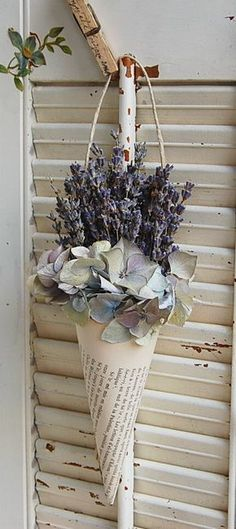 Dried French Lavender In Vintage French Book Cone / Dried