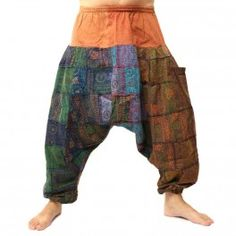 ॐ Aladin patchwork trousers with elastic waistband - cotton with side pocket