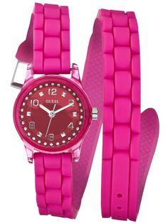 GUESS Watch, Women's Color Pop Fuchsia Double Wrap Silicone Strap - All Watches - Jewelry & Watches - Macy's Pink Watch, Gold Watch, Bracelet Cuir, Bracelet Watch, Bracelet Silicone, Mini, Sport, Orange, Fashion Watches