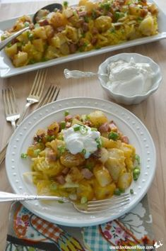 Cheesy Country Potatoes with Ham. A great way to use up leftover ham from Easter.