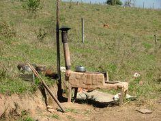 Fogão de lenha no campo