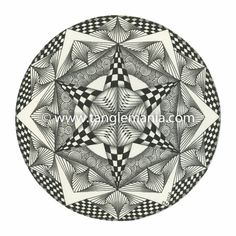 This is a print of an original hand-drawn Zentangle® inspired piece of art by Caren Mlot. The print is created using an ultra high resolution scanned