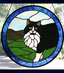 Tuxedo Cat stained glass window panel