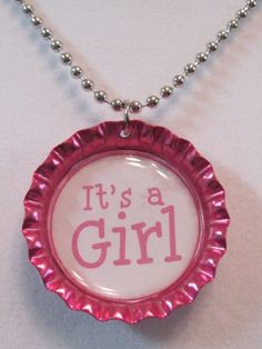 It's a Girl bottle cap necklace