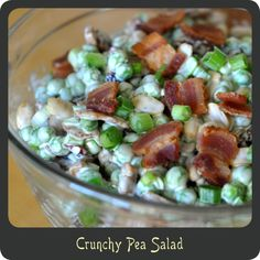 I love this even though I normally hate peas - I think because the peas aren't mushy. Crunchy Pea Salad—The perfect summer side salad! Light, cool, and refreshing Pea Recipes, Side Dish Recipes, Veggie Recipes, Salad Recipes, Cooking Recipes, Healthy Recipes, Side Dishes, Pea Salad, Salad Bar