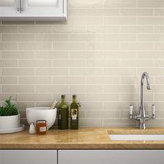 Mileto Brick Bone Gloss Ceramic Wall Tile - 75 x 300mm
