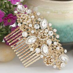 Bridal Hair Comb Wedding Hair Comb Crystal by goddessdesignsgems