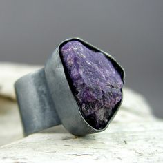 Sugilite Oxidized Silver Ring by ElementalAlchemist on Etsy, $95.00