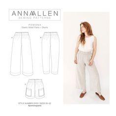 Pomona Pants and Shorts PDF Sewing Pattern Sizes 00-22 | Etsy