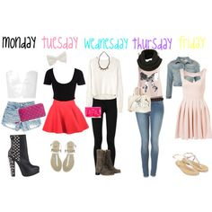 Cute school outfits love tue wen Thur and fri