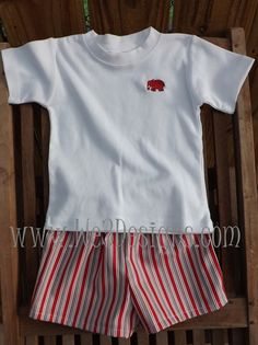 Alabama Boys Red Elephant Applique T-shirt and Shorts.  T-shirt and Shorts can be purchased separately.  Baby and Toddler sizes