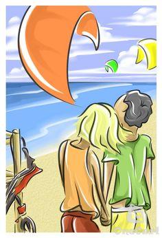Kitesurfing together #kite #art #life #kitesurf #dream #together #love #kiteboarding #couple #drawing #illustration