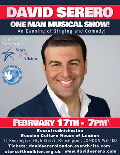 David Serero to perform at the Russian Culture House of London for the Stars of the Albion Festival on February 17th