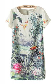 Birds Flowers Print Round Neck Short Sleeve Chiffon Vintage Dress