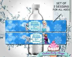 FROZEN BIRTHDAY PARTY Water Bottle Label Party Favor, Decorations, Diy, Printable, Custom Party Shoppe