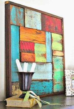 Beyond The Picket Fence Salvaged Wood Art.I must rescue bits from the wood stash immediately! & DIY modern painted wood wall art | Crafts | Pinterest | Wood wall ...