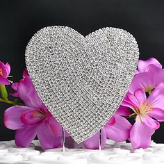 Shining  Heart-shaped Rhinestone Wedding Cake Topper – USD $ 24.99
