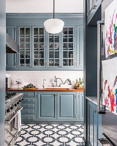 "@scoutandnimble on Instagram: ""Loving this gorgeous kitchen belonging to designer @cecebarfieldthompson. Such a pretty blue in…"""