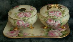 Limoges & Austria 1920 ARTIST SIGNED 5 Piece Roses Dresser Vanity Set