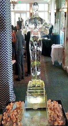 An Oscar statue ice sculpture