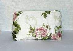 Linen Cosmetic bag. Ideal travel pouch for personal belongings, zippered pouch,Toiletry Bag, Accessory Bag, Rustic cosmetic bag with roses by Jolanyasewing on Etsy