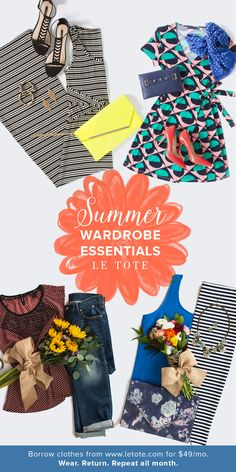 Summer Wardrobe Essentials - Rent Clothes Online with Le Tote Summertime Outfits, Simple Summer Outfits, Summer Fashion Outfits, Spring Summer Fashion, Summer Fall, Fashion 2018, Summer Clothes, Rent Clothes, Clothes For Women